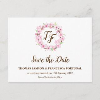 Cherry Blossoms Watercolor Wedding Save the Date Invitations