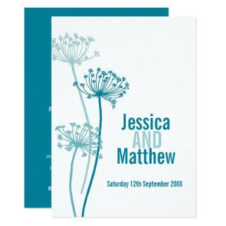 Chervil graphic modern flower teal fall wedding invitation