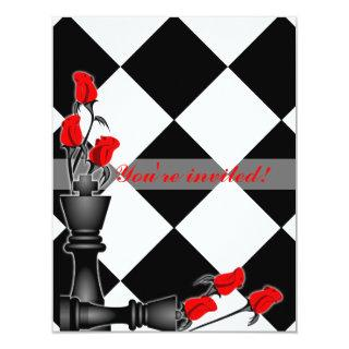 Chess and Roses Gothic Wedding Invitations
