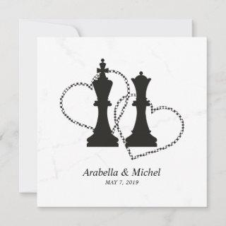 Chess King and Queen Pieces Wedding Design