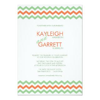 Chevron ZigZag Mint Orange Wedding Invitations