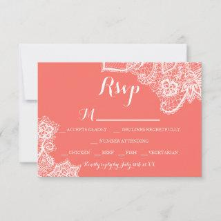 Chic beach white floral lace coral RSVP
