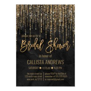 Chic Black Gold Glitter Pearl Marble Bridal Shower Invitation