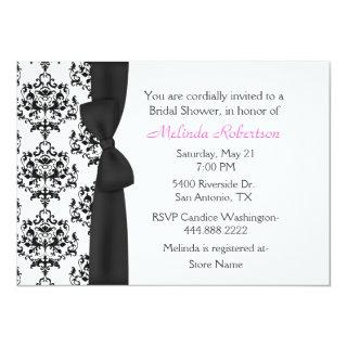 Chic Black & White Damask Bridal Shower Invitations