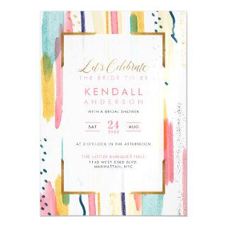 Chic Blue Painted Brush Strokes Chic Bridal Shower Magnetic Invitations