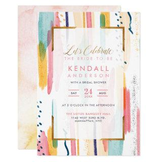 Chic Blue Painted Memphis Abstract Bridal Shower Invitation