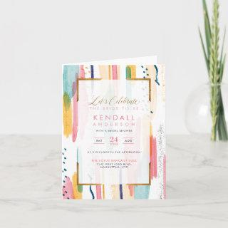 Chic Blue Patterned Memphis Abstract Bridal Shower Invitations