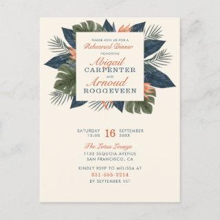 Chic Blue Tropical Leaves Unique Rehearsal Dinner  Postcard