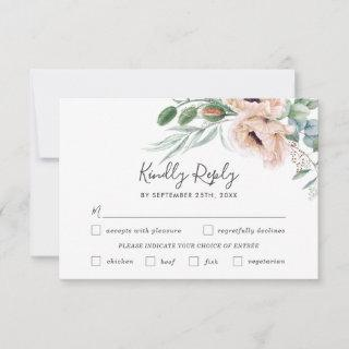 Chic Blush Floral Wedding Meal Choice RSVP Card