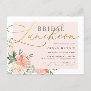 Chic Blush & Gold Script Floral Bridal Luncheon Invitations Postcard