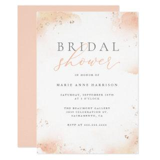 Chic Blush Pink Ombre Gold Dust Bridal Shower Invitations