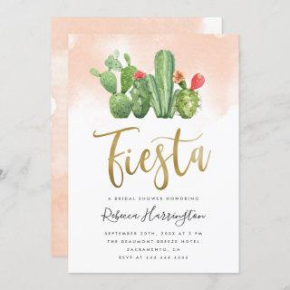 Chic Blush Watercolor Cactus Fiesta Bridal Shower Invitation