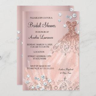 Chic Bride blush pink dress Diamond Bridal Shower Invitations