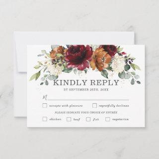 Chic Burgundy Floral Wedding Meal Choice RSVP Card