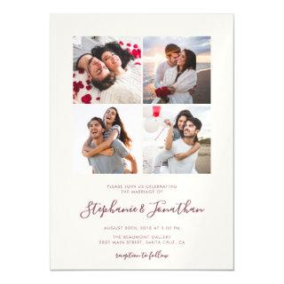 Chic Calligraphy Blush Pink Photo Wedding Magnetic Invitations