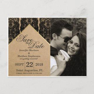 Chic & Classy Black Lace, Gold, & Recycled Paper Announcement Postcard