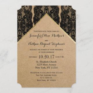 Chic & Classy Black Lace, Gold, & Recycled Paper