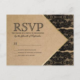 Chic & Classy Black Lace, Gold, & Recycled Paper  Postcard