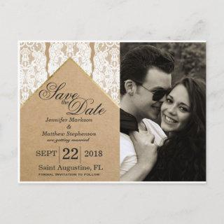 Chic & Classy White Lace, Gold, & Recycled Paper Announcement Postcard