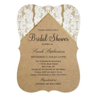 Chic & Classy White Lace, Gold, & Recycled Paper Invitation