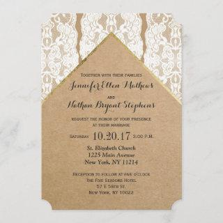 Chic & Classy White Lace, Gold, & Recycled Paper