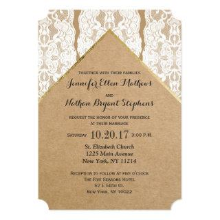 Chic & Classy White Lace, Gold, & Recycled Paper Invitations