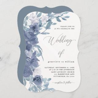 Chic Dusty Blue Floral with Calligraphy Wedding Invitation