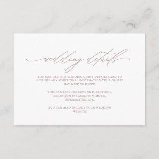 Chic Dusty Rose Calligraphy Wedding Guest Details Enclosure Card