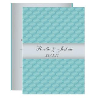 Chic elegant luxurious quilted teal silver Wedding Invitations