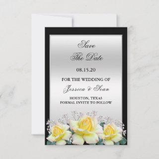 Chic Elegant Roses Silver Wedding Save The Date
