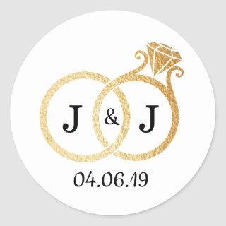 Chic Faux Gold Foil Monogram Wedding Rings Classic Round Sticker