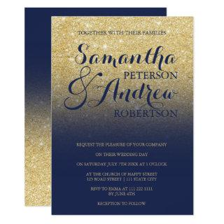 Chic faux gold glitter navy blue wedding Invitations