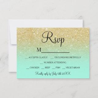 Chic faux gold glitter turquoise RSVP wedding