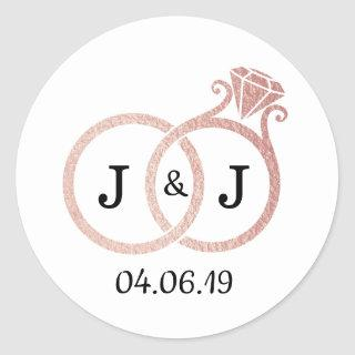 Chic Faux Rose Gold Foil Monogram Wedding Rings Classic Round Sticker