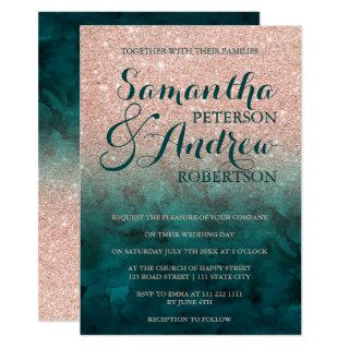 Chic faux rose gold glitter green emerald wedding invitation
