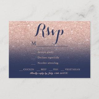 Chic faux rose gold glitter navy blue RSVP