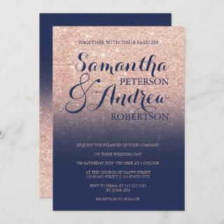 Chic faux rose gold glitter navy blue wedding Invitations