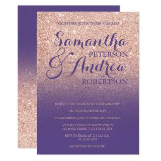 Chic faux rose gold glitter purple violet wedding Invitations