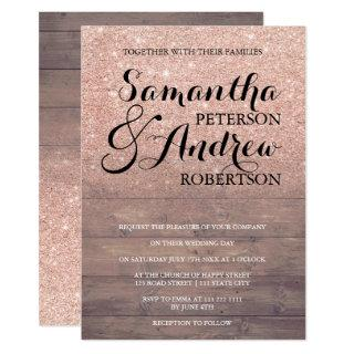 Chic faux rose gold glitter rustic wood wedding Invitations