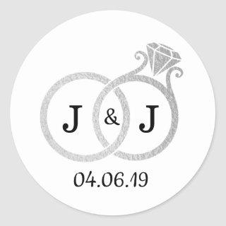 Chic Faux Silver Foil Monogram Wedding Rings Classic Round Sticker