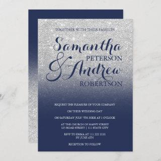 Chic faux silver glitter navy blue wedding Invitations