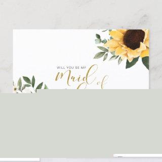 Chic Floral Sunflower Will You Be Maid of Honor Invitations Postcard