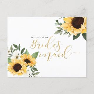 Chic Floral Sunflower Will You Be My Bridesmaid? Invitations Postcard