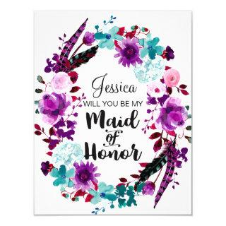 Chic Floral Wreath Will You Be My Maid of Honor Invitations