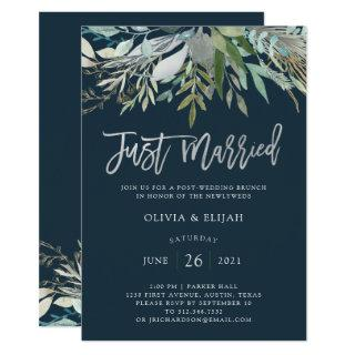 Chic Foliage | Dark Blue Just Married Invitation