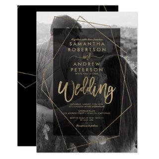 Chic geometric gold typography photo wedding Invitations