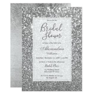 Chic glamorous trendy silver glitter Bridal Shower Invitation