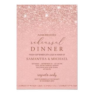 Chic glamour rose gold glitter rehearsal dinner Invitations