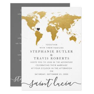 Chic Gold and Gray World Map Wedding Abroad Invitation