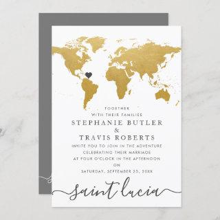 Chic Gold and Gray World Map Wedding Abroad